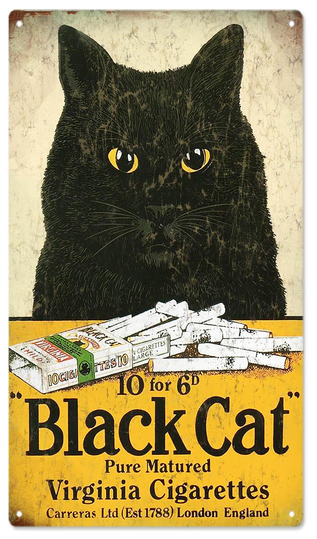 Black Cat Virginia Cigarettes Tobacco Sign Reproduction