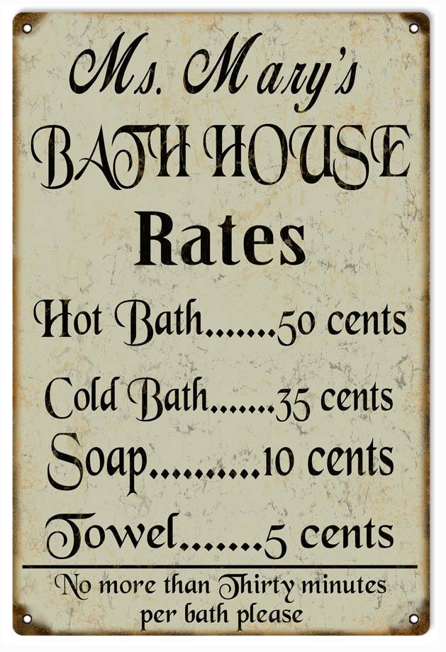 Ms Marys Bath House Sign 12 X18 Reproduction Vintage