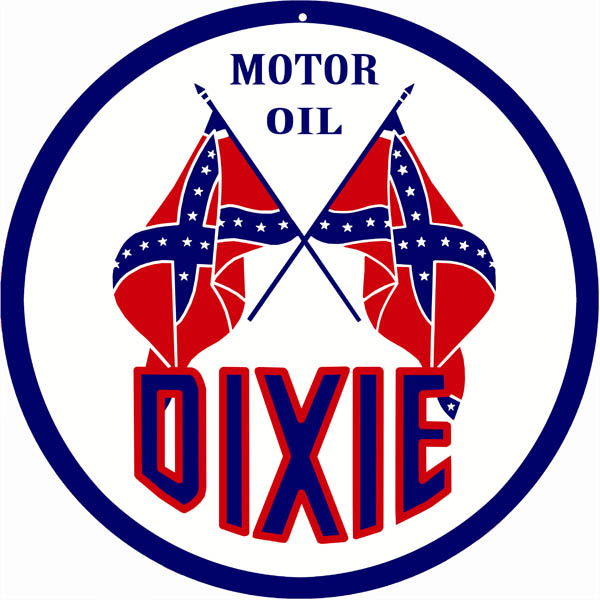 Dixie Motor Oil Sign 14 Round | Reproduction Vintage Signs:.
