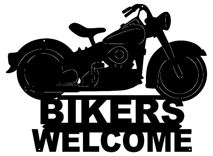 Bikers Welcome Laser Cut Out Silhouette Wall Decor Metal