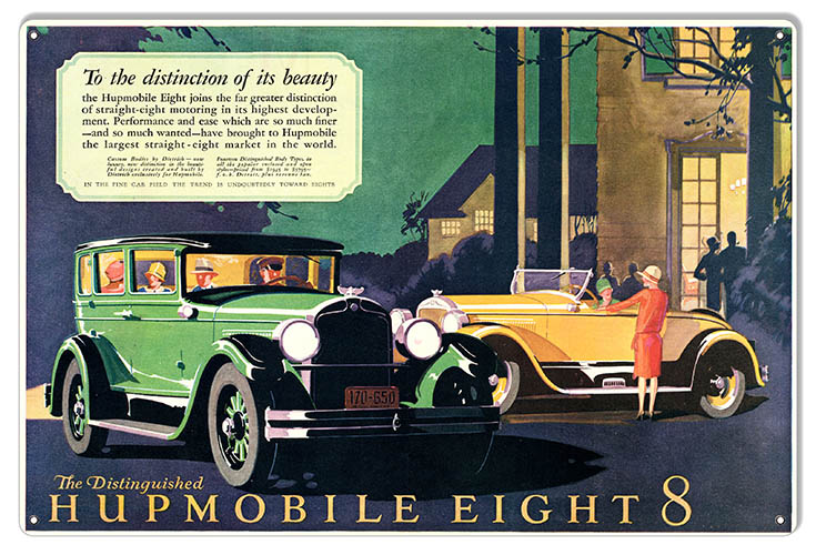 Humpmobile Eight Reproduction Classic Car Garage Art Metal Sign 12x18 Reproduction Vintage Signs