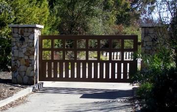 custom_gate_contractors_ornamental_iron_bronze_style_single_swing_entry_automatic_gate_sebastopol_ca_la