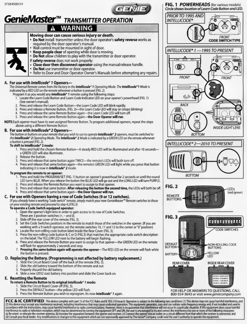 small resolution of genie master remote programming instructions garage door stuff rh garagedoorstuff com genie blue max garage door