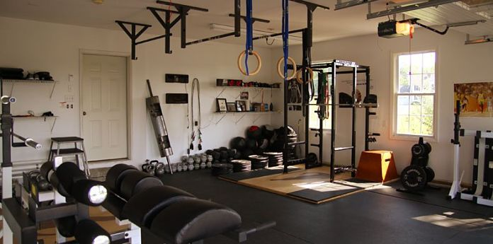 Well Equipped Garage Gym with power rack