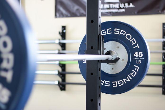Fringe Sport Competition Bumper Plate on Bar Garage Gym Lab