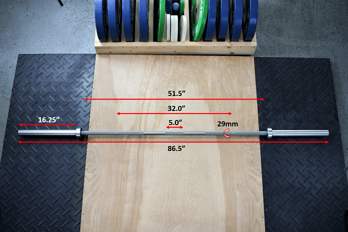 American Barbell Mammoth Bar - Measurements Garage Gym Lab