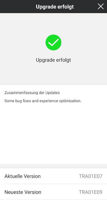 Screenshot NIU App: ECU Firmware Update erfolgreich