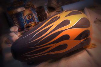 Orange Flames, Silver Outline.