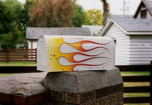 Our customer wanted a mail box that matched the flames on his hot rod. Done!