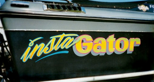Hand lettered and airbrushed speed boat.