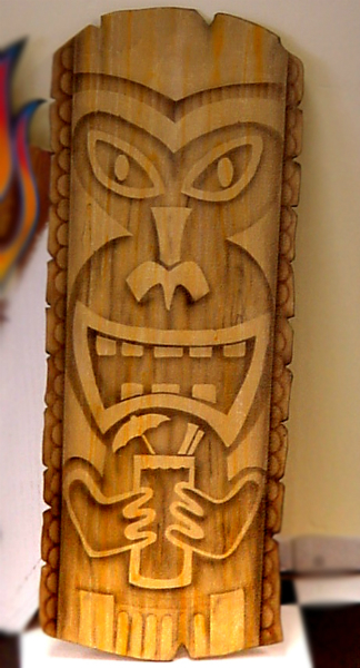 """This """"Happy Tiki"""" was also airbrushed on plywood."""