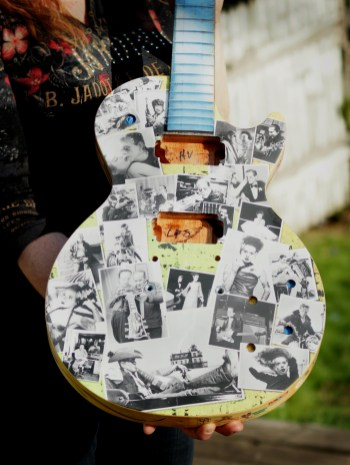 This Les Paul guitar was done by artist Robert Andersen for the Guitar Town project in Waukesha WI. (the birth place of Les Paul)