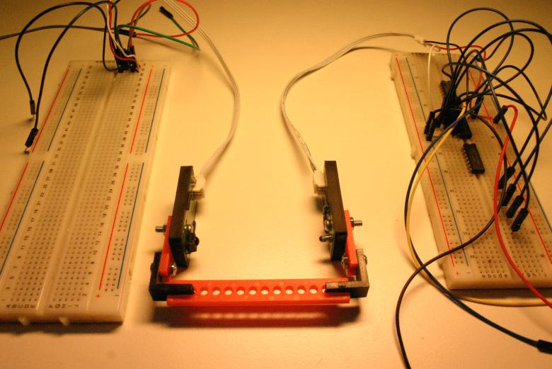 The IR module and the breadboards