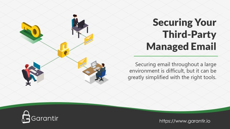 An image showing three employees connected and exchanging email, while a padlock keeps the S/MIME private keys secured and locked away.
