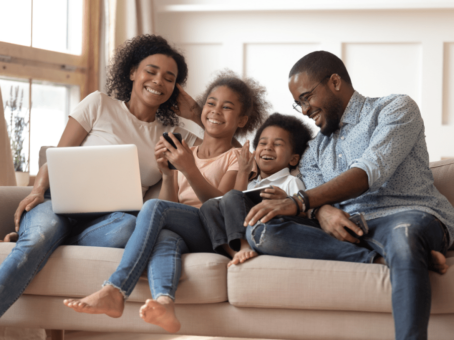 family with electronics