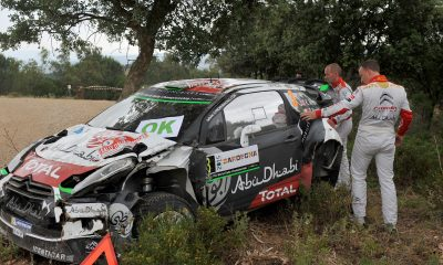 "ALGHERO, ITALY - JUNE 12:  Kris Meeke of Great Britain and Paul Nagle of Ireland crashed their Citroen Total Abu Dhabi WRT Citroen DS3 WRC during special stage n?2 ""Grighine Sud"" during Day One of the WRC Italia Sardinia on June 12, 2015 in Alghero, Italy.  (Photo by Massimo Bettiol/Getty Images)"