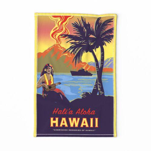 fabric aloha hawaii vintage travel poster