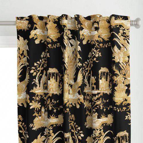 colorful fabrics digitally printed by spoonflower chinoiserie toile gilt on black