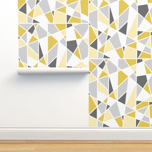 papier peint blanc jaune gris geometrique