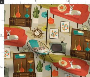 rec fabric yard spoonflower madness 1960s retro whippet century dogs mid