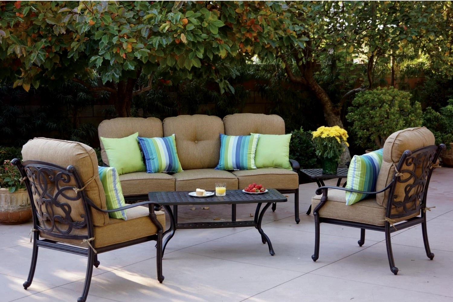 Deep Seating Patio Chairs Patio Furniture Deep Seating Set Cast Aluminum 5pc Santa