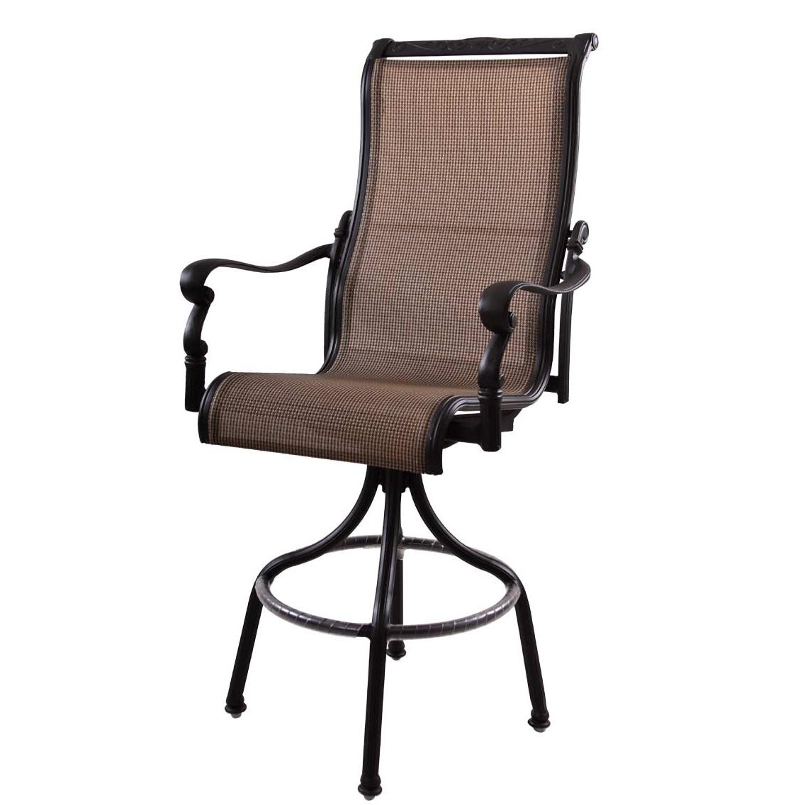 Balcony Height Patio Chairs Patio Furniture Aluminum Sling Pub Chair High Back Swivel