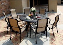 "Patio Furniture Aluminum Sling Dining Set 71"" Table"