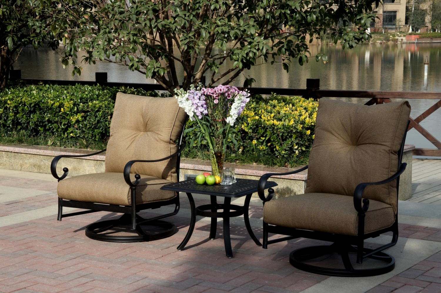 bistro set with swivel chairs suede dining room patio furniture cast aluminum rocker 3pc santa