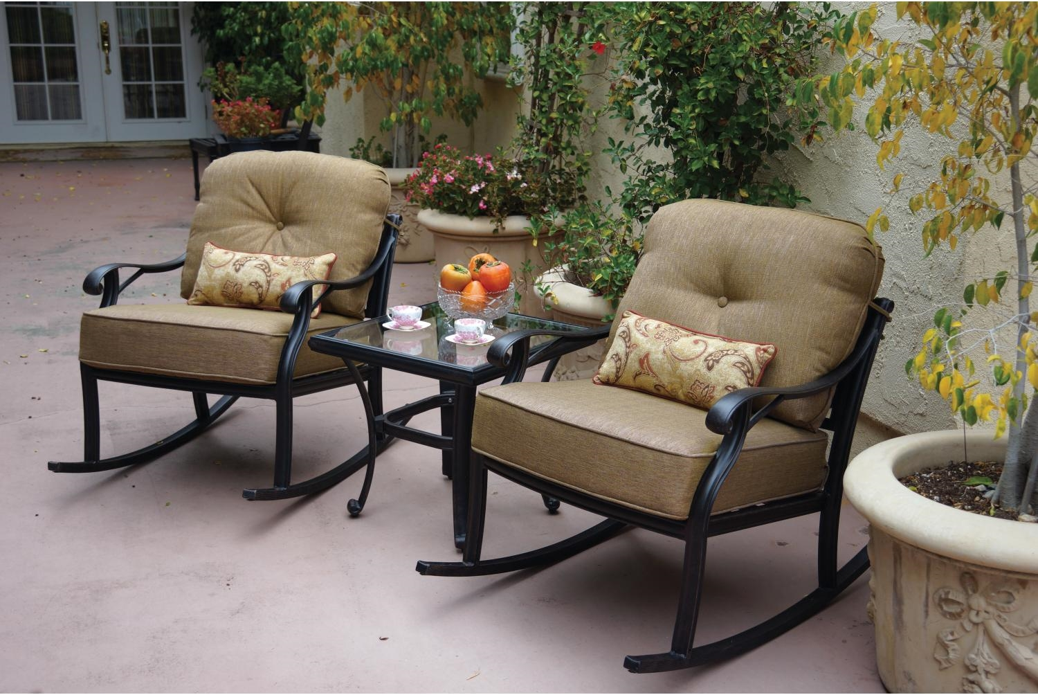 Deep Seating Patio Chairs Patio Furniture Deep Seating Club Rockers Cast Aluminum
