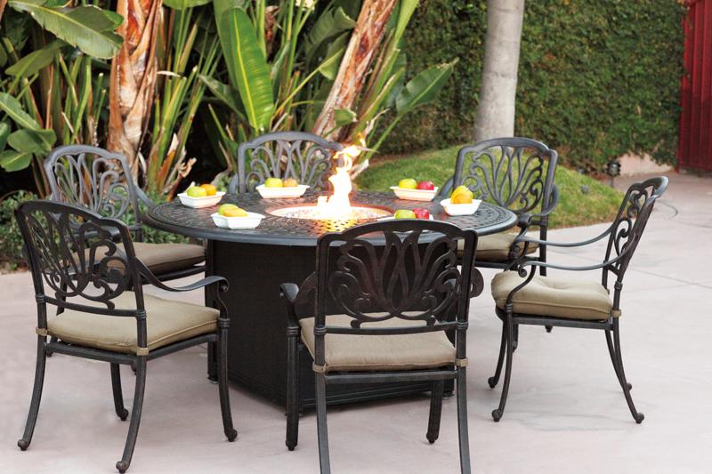 Patio Furniture Dining Set Cast Aluminum 60 Round Propane