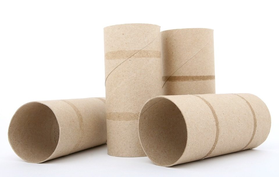 Four used toilet paper rolls, two standing and two lying down.