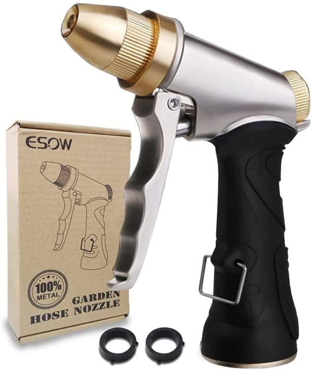 A silver sprayer with black rubber handle and brass tip.
