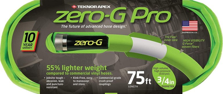 A Zero G garden hose in new packaging, bright neon green in color.