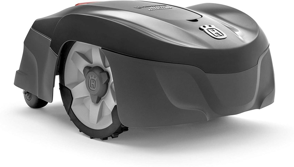 A two tone gray husqvarna robotic mower on a white background.