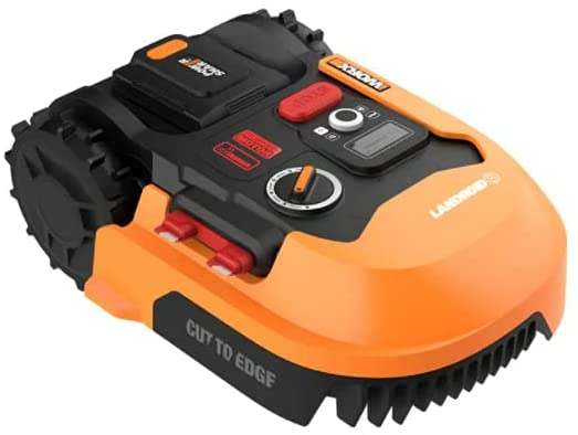 A bright and shiny orange and black Worx robotic mower on a white background.