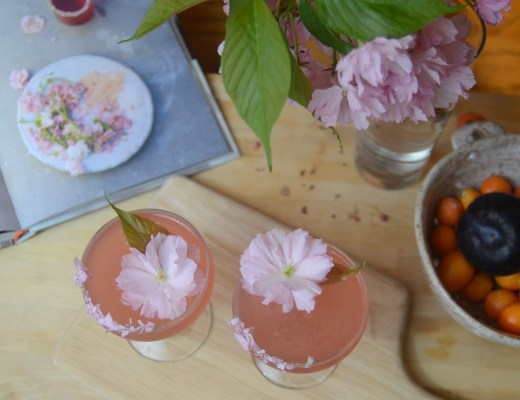 Cherry blossom cocktail with lemon sake and plum wine with vodka