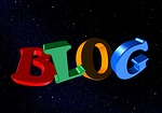 shows word blog in black space