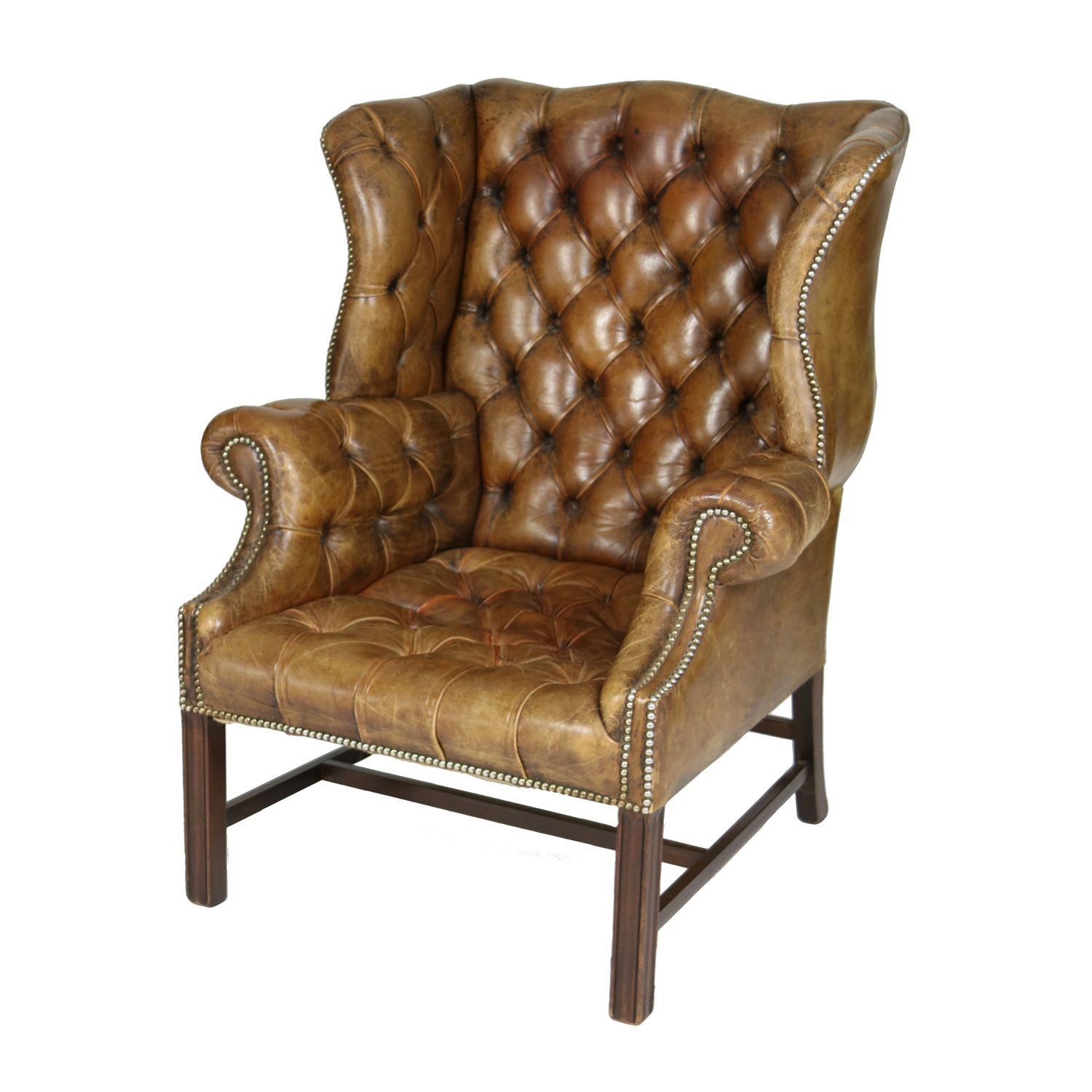 Brown Leather Wingback Chair An Elegant Brown Tufted Leather And Mahogany Wing Chair With Tight Seat English Circa 1860