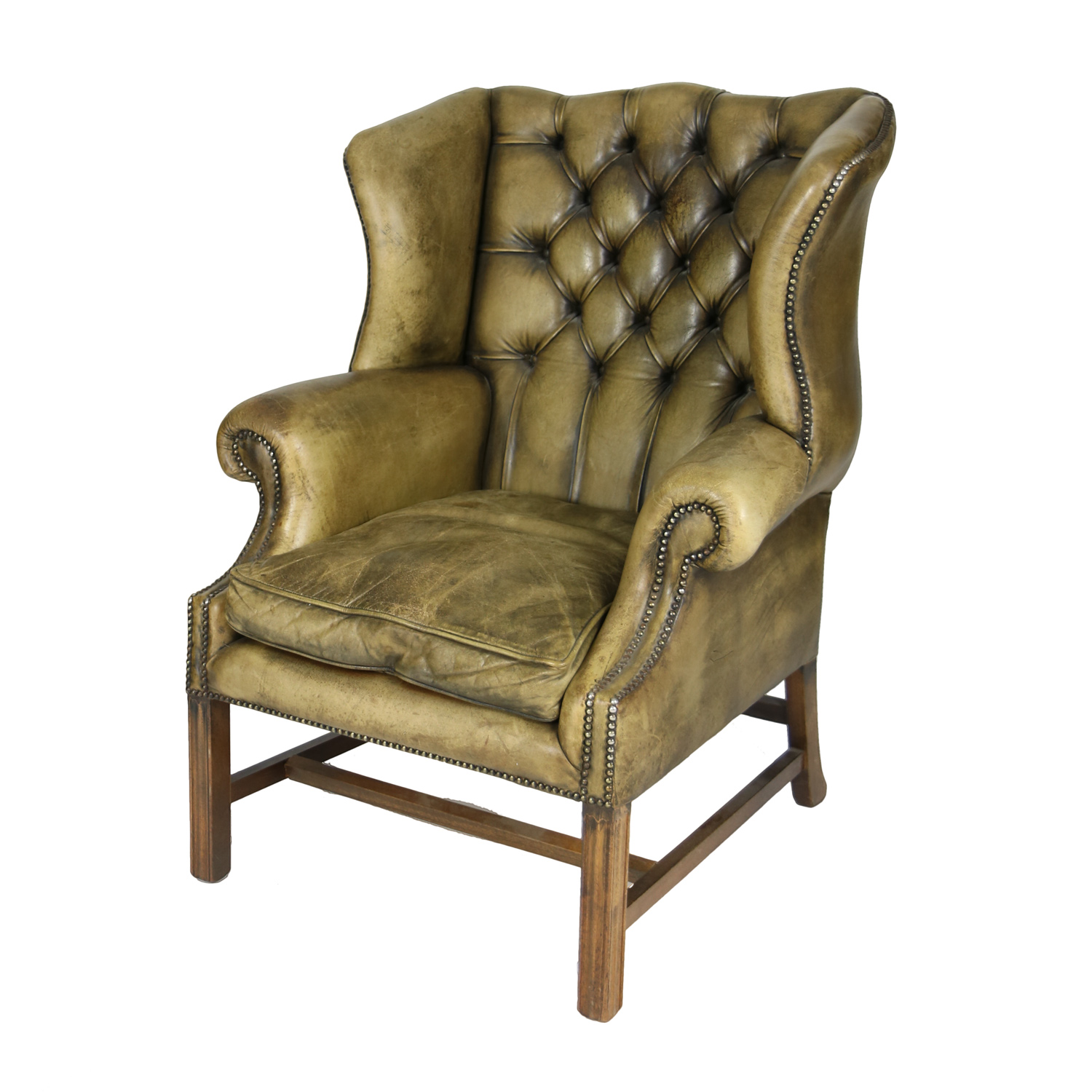 Brown Leather Wingback Chair Handsome Mahogany And Original Tufted Green Leather Wing Chair English Circa 1880