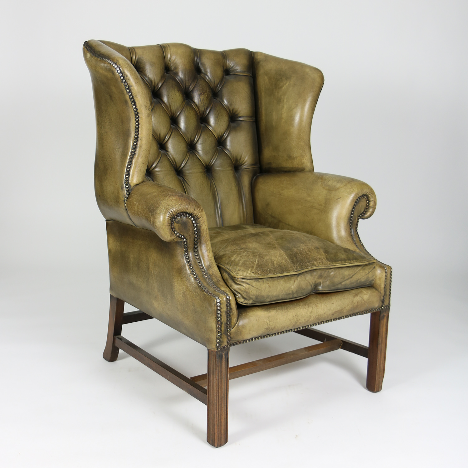 Wingback Tufted Chair Handsome Mahogany And Original Tufted Green Leather Wing Chair English Circa 1880