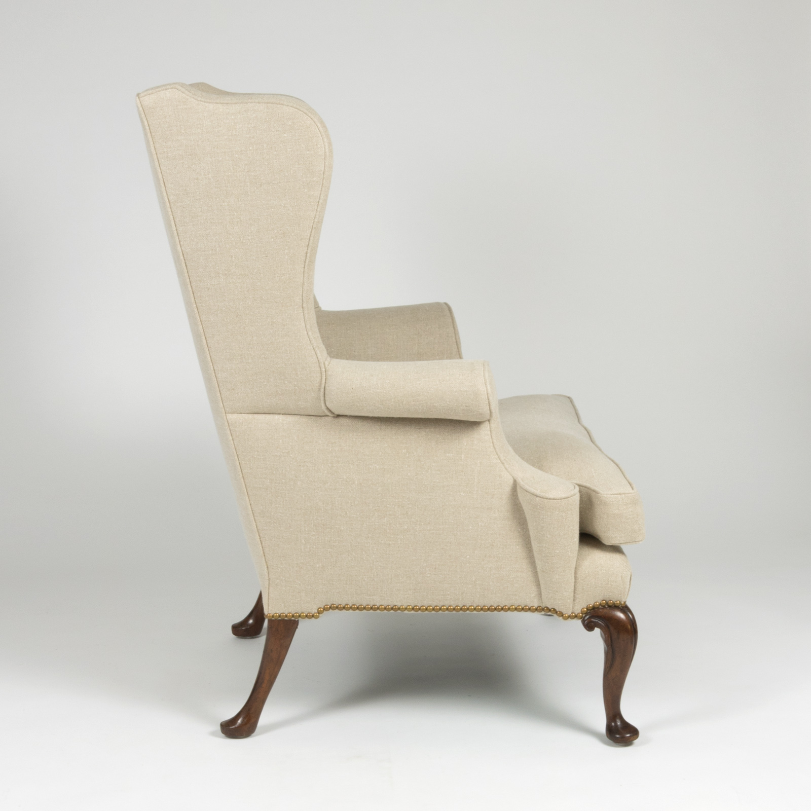 Wing Chair Handsome Mahogany Frame Upholstered Wing Chair With Rams Head Carved Legs English Circa 1880