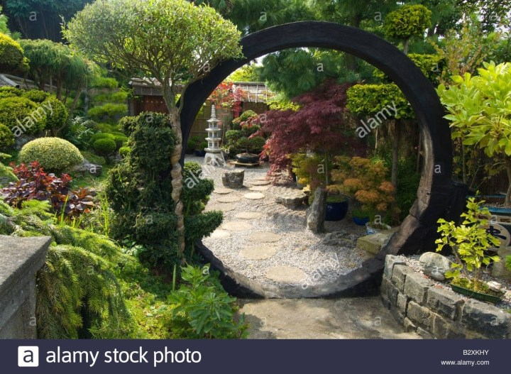 Japanese Style Garden With Moon Gate Rocks Shrubs And Trees Design intended for Zen Garden Gate Design