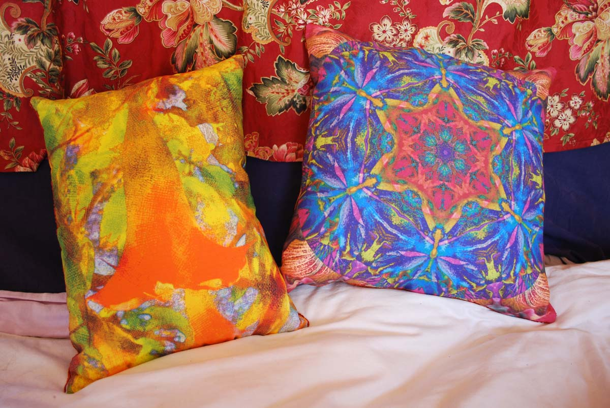 Pillows from spoonflower fabric