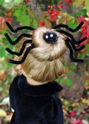 doll hairstyle spooky spider bun