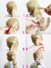 doll hairstyle hair wrapped ponytail