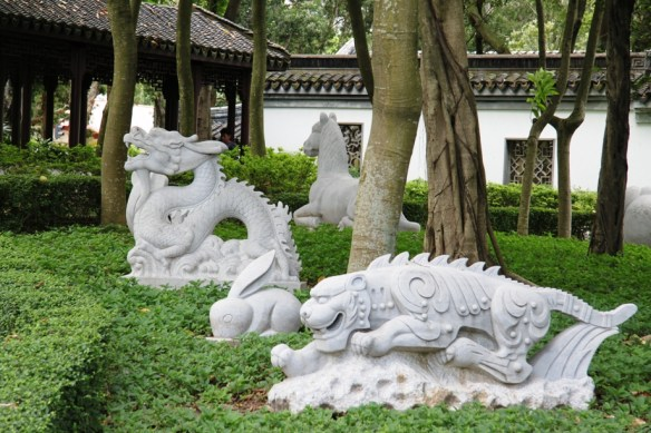 Shady Chinese Zodiac Garden with powerful sculptures