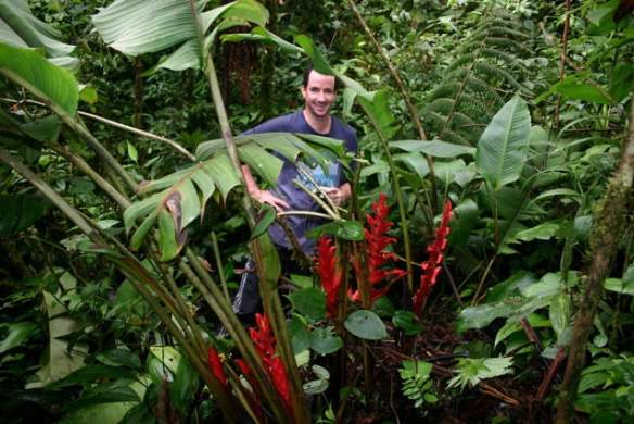 Endemic Heliconia bella with Aussie Bruce Dunstan