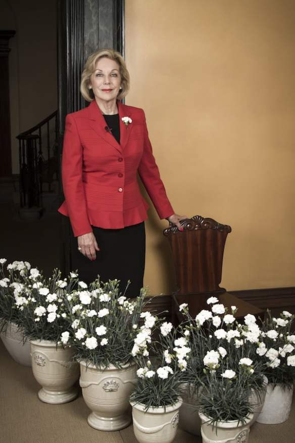 Ita Buttrose with Dianthus Memories'