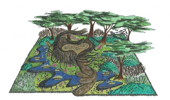 'A Maleficent View' show garden concept sketch-up. Design Leon Kluge