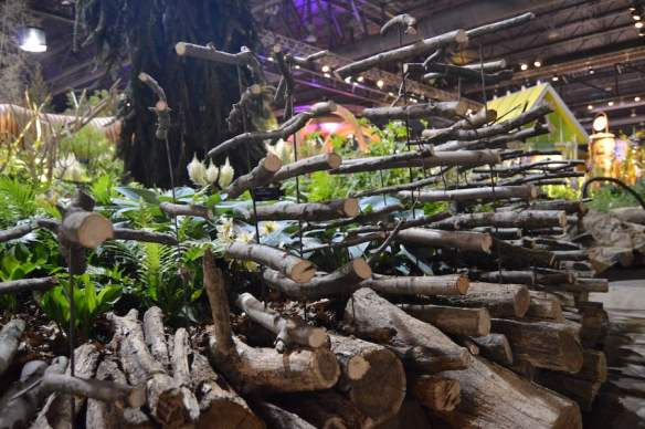 Sticks floating sculpture for 'A Maleficent View' Design Leon Kluge. Best in Show Landscape Philadelphia Flower Show 2015